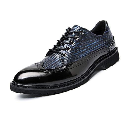 Xujw-shoes, 2018 Scarpe Stringate Basse Casual Casual Spring and Autumn Colorful Oxford Point Brogue Business Oxford (Color : Black Blue, Dimensione : 38 EU) Black Blue