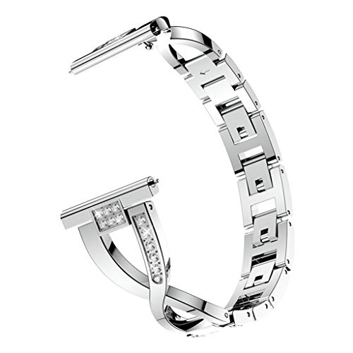 for Fitbit Versa Lite Watch Bands, Thing-ning Adjustable Bling Watch Bands for Fitbit Versa Lite Stainless Steel Bangle Men&Women, with Connector (Silver) from Thing-ning Watch Bands