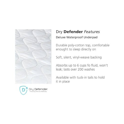 Washable Waterproof Mattress Sheet Protector Bed Extra Large Underpad - 36in x 70in with Tuck-in Tails by Dry Defender (Image #2)