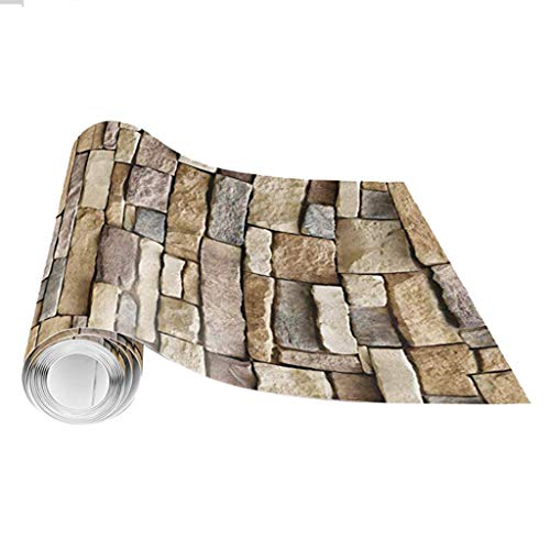 ❀ liyeziaaa ❀ Wall Sticker, 3D Wall Paper Brick Stone Rustic Effect Self-Adhesive Wall Sticker Home Decor