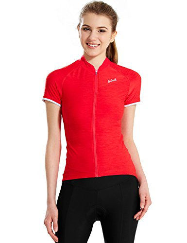 Baleaf Women's Space Dye Short Sleeve Cycling Jersey UPF 30+ Red Size M