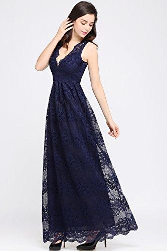 Babyonlinedress Vestido de encaje larga para fiesta cuello V sin mangas espalda semicubierta estilo A line y elegante vestido simple y clásico para mujer azul marino