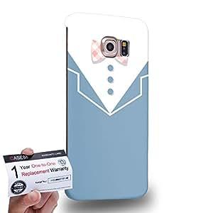Case88 [Samsung Galaxy S6 Edge] 3D impresa Carcasa/Funda dura para & Tarjeta de garantía - Art Design Columbia blue V Neck Fashion