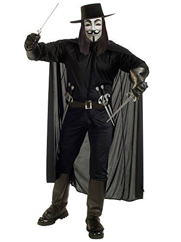 V For Vendetta Complete Costume, Black,
