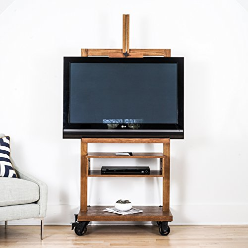 Hives and Honey Cullen Oak 3-Tier TV Stand for Flat TV Panel Television Wood Storage Entertainment - Stores Oaks Rolling