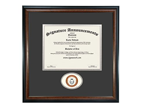 Texas San Antonio Seal (Signature Announcements University-of-Texas-Health-Science-Center-At-San-Antonio Undergraduate Sculpted Foil Seal Diploma Frame, 16 x 16, Matte Mahogany)