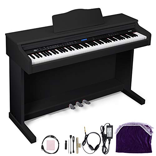 Happybuy Black Digital Piano 88-Key Electric Piano Keyboard w/ 3-Pedal Board Music Stand Slide Cover for Beginner/Adults (A-W/Stand +3-Pedal+Adapter, Black Without Bench) -