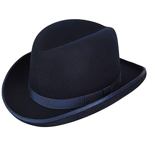Hats.Com Men Big Boss Homburg - Exclusive Navy L