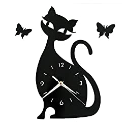 Happy Hours - Creative Wall Clocks / Home DIY Decoration Watch / Cat Shape Living Room Mirror 3D Wall Design