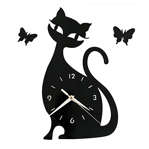 Happy Hours - Creative Wall Clocks / Decoration / Cat Shape Mirror 3D Wall