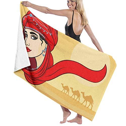 Beautiful Arabian Red Headscarf Woman Camel Golden Sun