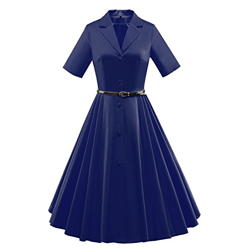 529912882206e OUCHI® Retro 50s Hepburn Button Down Belt Tunic Bubble Outfits Full Dress  Blue US 2 4 (Asian Tag S)