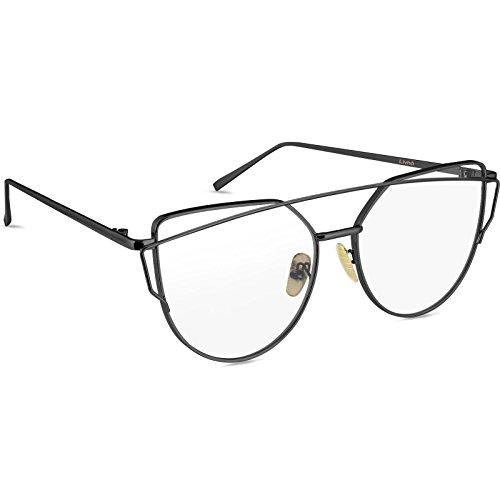 9485f5bcd Livhò Sunglasses for Women, Cat Eye Mirrored Flat Lenses Metal Frame  Sunglasses UV400