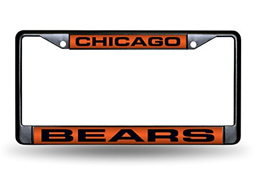 Rico Industries NFL Chicago Bears Laser Cut Inlaid Standard Chrome License Plate Frame, 6