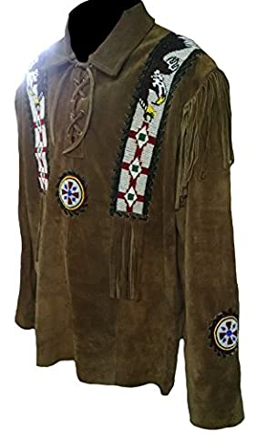 Classyak Men's Western Cowboy Suede Leather Fringed & Beaded Shirt Brown (Suede Occidentale Fringe)