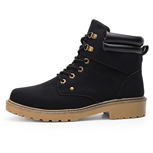 Aurorax Men's Winter Snow Boots [Resistant Premium] Work Boots [Casual Warm Shoes] Outdoor Martin Ankle Boots Fur Lined Shoes (Black, 39/US:7) by Aurorax