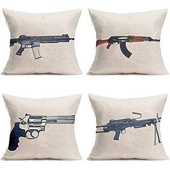 Amazon.com: NUEVO Negro Cool Gun Funda de almohada, Assault ...