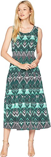 Nine West Women's Stretch Crepe Sleeveless Midi Tier Dress with Smocked Waist Paradise Multi ()