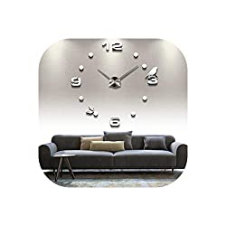 Wall Clock 2019 Real Metal 3D DIY Acrylic Mirror Wall Clock Watch Clocks Home Decoration Modern Needle Quartz Stickers,Dark Gray,37 Inch
