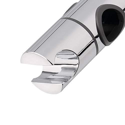Color:Silver Replacement 25mm ABS Chrome Shower Rail Head Slider Holder Adjustable Bracket Size: