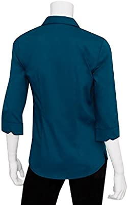 abb27d20267 Chef Works Women's Finesse 3/4 Sleeve Fitted Shirt, Blue, X-Large ...