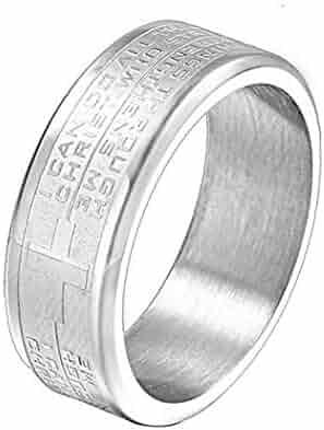 Spinner Buddhist Scriptures JEWURA Religious Ring Stainless Steel Ring