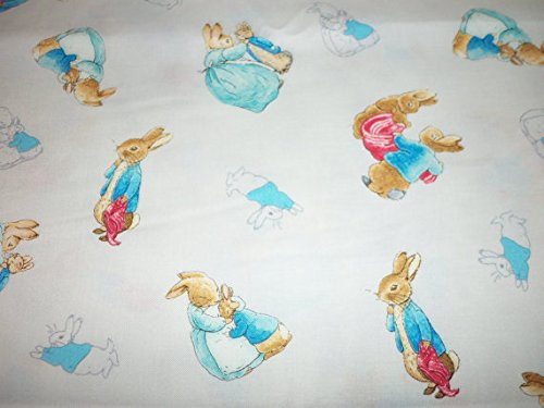 Peter Rabbit Easter Fabric Beatrix Potter White Background Fat Quarter New BTFQ