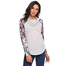 Meaneor Women's Long Sleeve Cowl Neck Floral T-Shirt Top Blouse