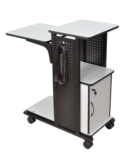H WILSON WPS4CE Presentation Cart, 4 Shelves and Cabinet, Gray ()