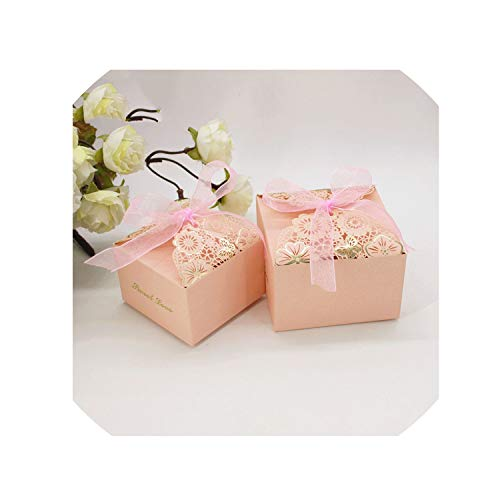 50 Pcs Pink Laser Cut Gift Bag Candy Box Wedding Party Favors Package Birthday Cardboard Boxes Chocolate Dragees,Pink,8X8X5 cm