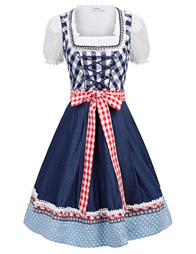 Jasambac German Oktoberfest Dirndl Dress Halloween Costume Maid Outfit Size XL Color Navy]()