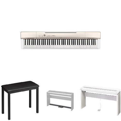Casio Privia PX160GD 88-Key Full Size Digital Piano Bundle with Casio CB7 Padded Piano Bench, SP33 Pedals, and CS67 Stand by Casio