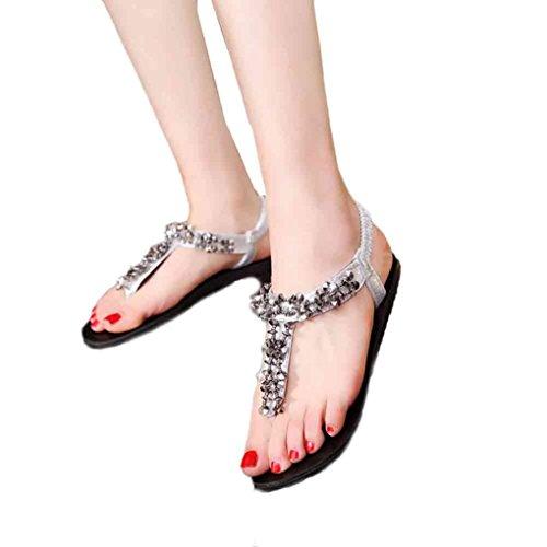 e8083f880 Hot Sandals ! AMA(TM) Women Summer Flat Beads Bohemia Sandals Casual Flip  Flops