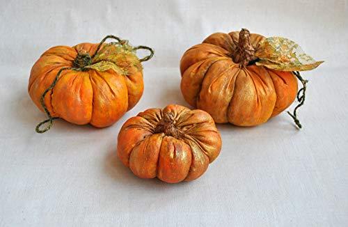 Pumpkins set 3 Pcs Primitive Table Decor Harvest Thanksgiving Rustic Fall Decoration Country Cottage (Primitive Ornies Bowl)