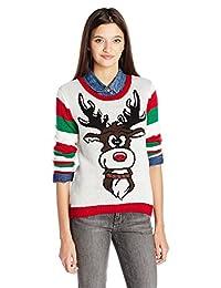 Ugly Christmas Sweater Company Suéter Feo de Navidad para niños con Cara y Trasero de Reigndeer, Crema, XS