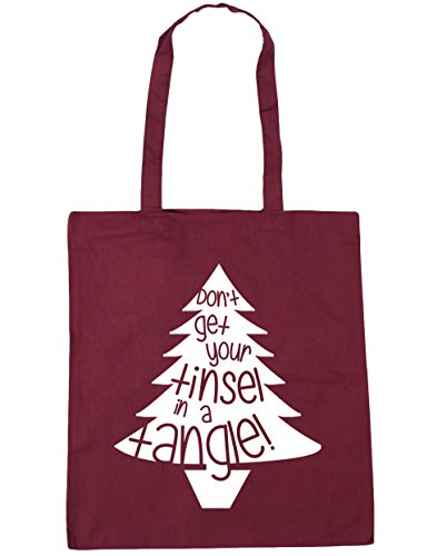 HippoWarehouse Lied dont´t erhalten ihre lametta in einem gewirr Einkaufstasche Fitnessstudio Strandtasche 42cm x38cm, 10 liter - Weinrot, One size