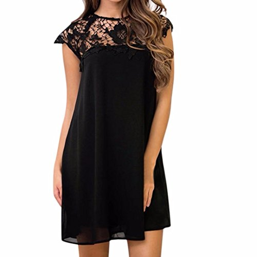 Daoroka Women Dress Daoroka Sexy Elegant Sleeveless Halter Neck Floral Lace Hollow Out Cocktail Party Summer Mini Dress - Major Mini