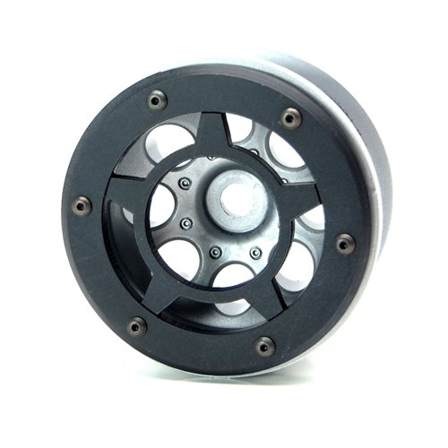 Beadlock Rings Axial (Gear Head RC Axial 2.2 Wheel Beadlock Rings, Style No. 8, Black Delrin (4))