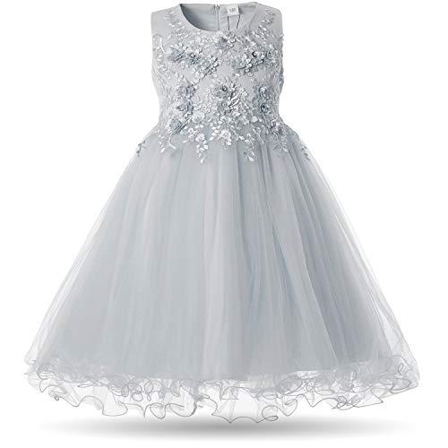 CIELARKO Girls Dress Flower Pearls Kids Party Wedding Dresses for 2-11 Years (8-9 Years, ()