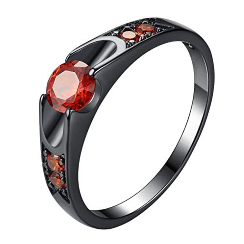 FEDULK Womens Fashion Rings Round Zircon Micro Inlay Comfort Fit Couples Wedding Jewelry Promise Rings(Black, 8)