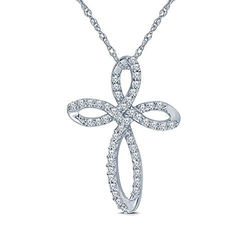 1/4 ct Round White Diamond 925 Sterling Silver Knot Cross Diamond Necklace Pendant for Adults Womens Teens ()