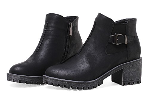 Kaloosh Women's Comfortable Round Toe Block Low Heel Strap Buckle Zipper Ankle Boots Black