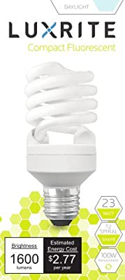 Luxrite LR20200 (4-Pack) 23-Watt CFL T2 Mini Spiral Light Bulb, Equivalent To 100W Incandescent, Day Light 6500K, 1600 Lumens, E26 Standard Base, UL-Listed