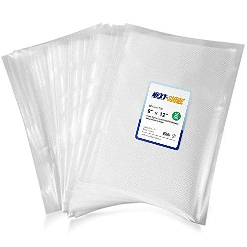 NEXT-SHINE Vacuum Sealer Bags Compatible 50 PCS Quart Size Storage Food Saver Bags, BPA Free, Commercial Grade for Sous Vide