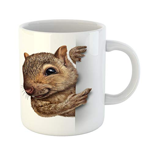 Emvency Coffee Tea Mug Gift 11 Ounces Funny Ceramic Squirrel Holding Blank Sign Realistic Fur and Paws As Friendly Cute Furry Gifts For Family Friends Coworkers Boss Mug