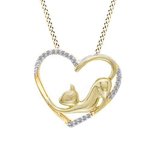 - Jewel Zone US White Natural Diamond Stretching Cat Pendant Necklace in 14K Yellow Gold Over Sterling Silver (1/10 Ct)