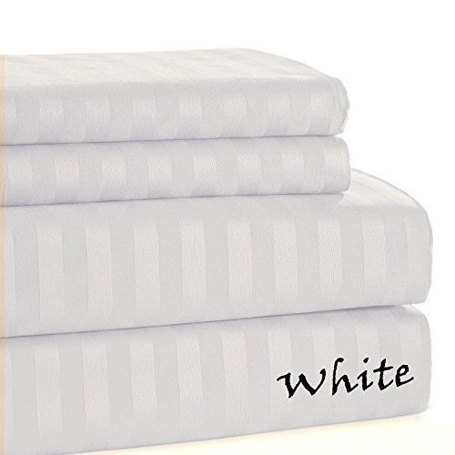 Luxury Hotel Collection 1-PC Flat Sheet 100% Pure Egyptian Cotton 500 Thread Count Stripe Pattern ( Queen Size, White )