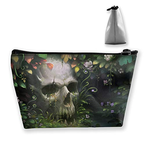 Makeup Bag Cosmetic Skull Leaf Green Portable Cosmetic Bag Mobile Trapezoidal Storage Bag Travel Bags with Zipper