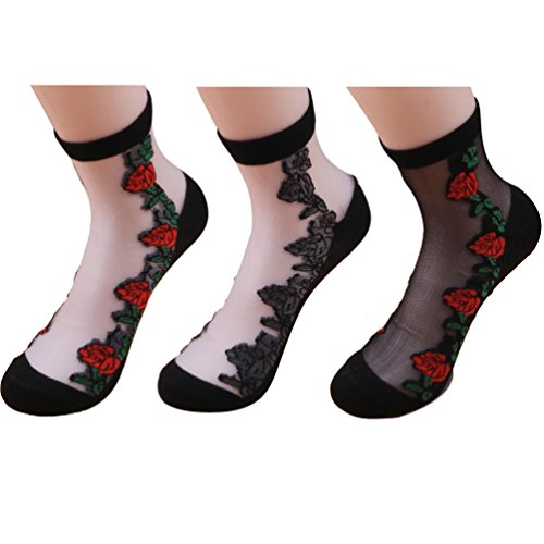 Ealafee Ankle Mesh Tights Women Dress Lace Crew Red Rose Crew Socks Pack of 3 (Red Fence Net Thigh Highs)