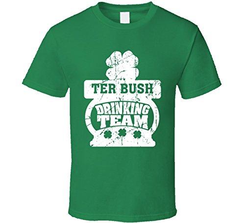 TER Bush Drinking Team ST. Patrick's Day Last Name Group T Shirt L Irish ()